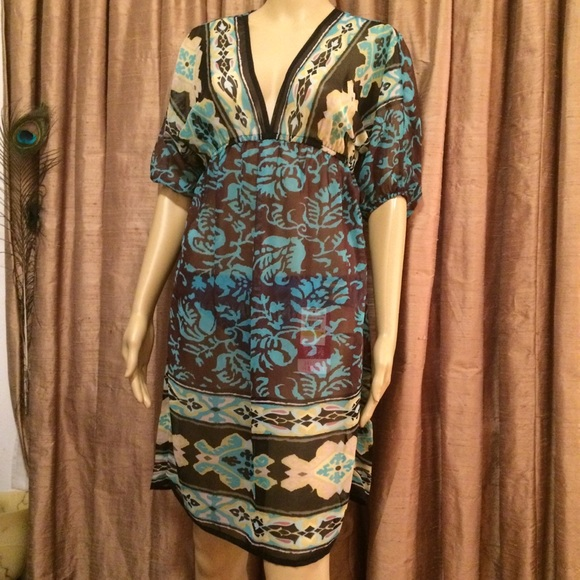 Myan Other - Myan Blue on Brown w/Black Print Swimsuit Cover Up